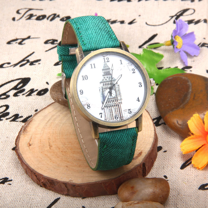 Men Clock Tower Pattern Retro Watch Unisex Casual Belt Quartz Watch Clock