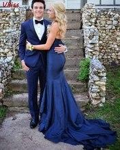 Женское вечернее платье русалка темно синее длинное для выпускного