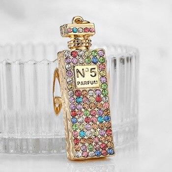 Colgante que estalla, 5 botellas de perfume, hebilla de metal para llave, colgante para coche, pequeño regalo creativo.