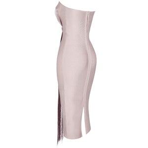 Image 2 - Ocstrade夏vestidos包帯 2020 新しい女性ミディ包帯ドレスレーヨンヌードタッセルフリンジセクシーなストラップレスボディコンパーティードレス