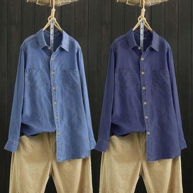 Cotton Linen Denim Blue Shirt 4