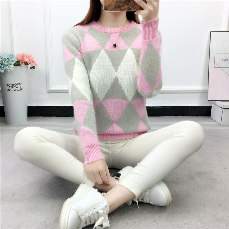 Lady Plaid Winter Pullover 2019 Female Pullovers Winter Sweater Fashion Women Pullover Long Sleeve Plaid Casual Ladies Sweaters