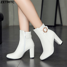 Womens Ankle Boots High Heels Boots Zipper Round Toe Winter Ladies Boots White yellow Black Boots Woman 2019 New Shoes