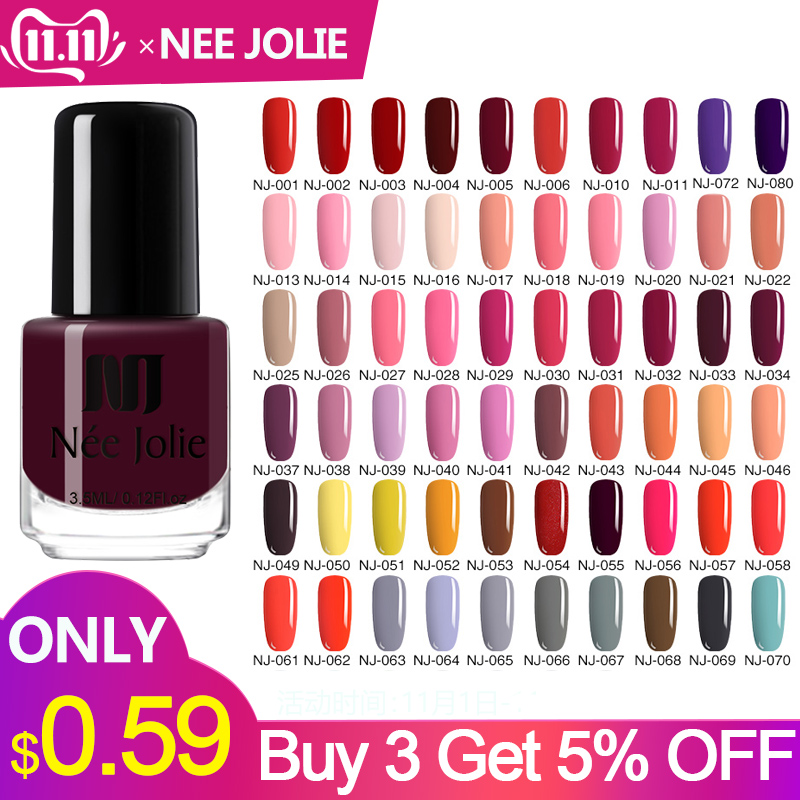 NEE JOLIE 73 Colors Solid Color Nail Art Polish Lacquer Long Lasting Manicure Decoration DIY Designs 3.5ML