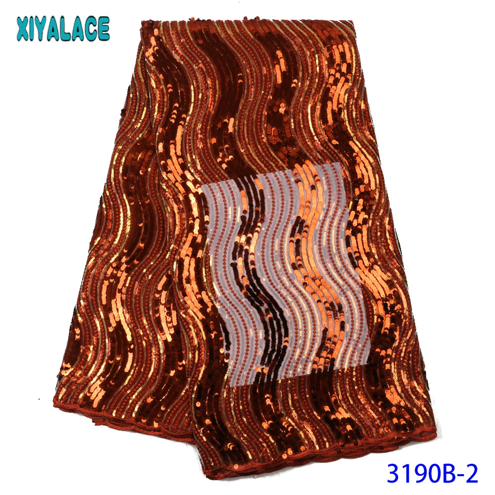 2020 High Quality African Sequins Lace Fabric Nigerian Embroidery Tulle Lace Fabric High Quality Sequined Net Lace KS3190B