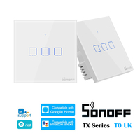 SONOFF T0 Uk TX-Series 1/2/3 Gang WiFi 스마트 스위치 홈 오토메이션 WiFi 벽 스위치 ewelink와 호환 Google Home Alexa