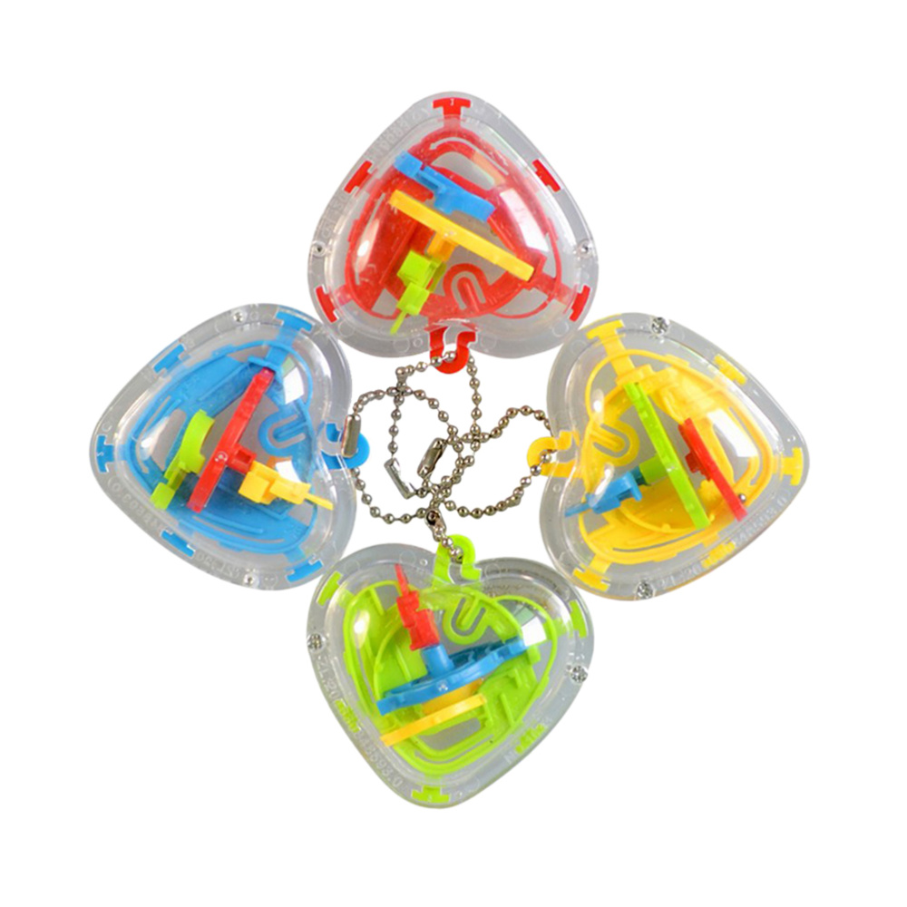 4pcs 3D Maze Heart Shape 50 Challenging Barriers Puzzle Game Toy Intelligence Beads Maze Toys(Random Color)