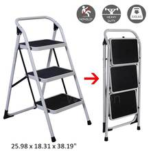Foldable 3 Steps Ladder Iron Multi-functional Scaffold Platform Portable Step Stool Extension Ladder Tool 330LB/150KG Capacity