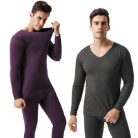 New Unmarked V collar Men's Warm Underwear Set Autumn Long Johns Suit Thin Plus Heating Fibe Winter Thermal Sleepwear R022