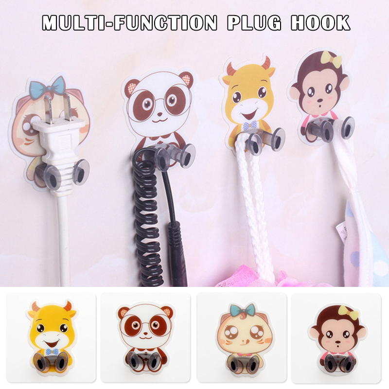 Cartoon Seamless Plug Hook Multi-function Wire Finishing Device Waterproof Moisture-proof Strong Paste LBShipping