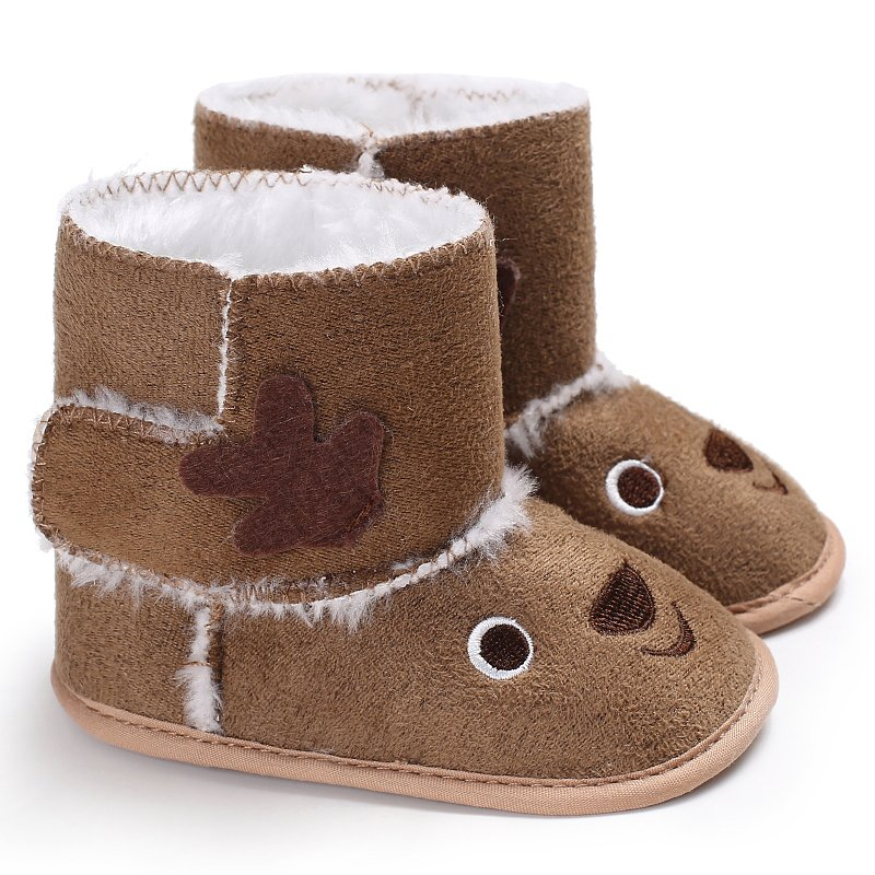 Winter Warm Baby Shoes Toddler Cartoon Design Crib Snow Kid Woolen Yam Fur Bowknot First Walkers Shoes