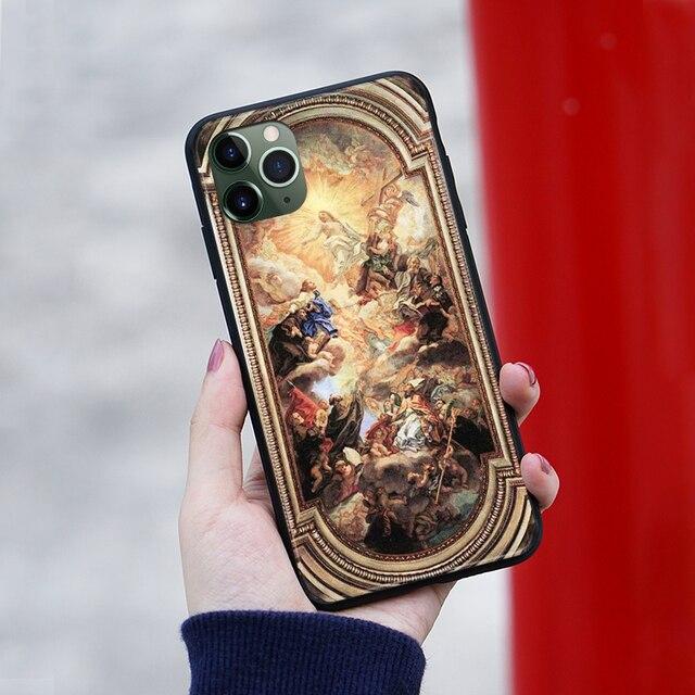 Lapothéose de Lordre Franciscain illustrations souple en silicone housse de Téléphone Pour iPhone 6s 7 8 Plus X XR XS 11 Pro Max