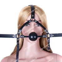 Adult Slave Harness Silicone Ball Open Mouth Gag BDSM Bondage Fetish Mouth Restraint Sex Toy for Woman Exotic Fun Accessories