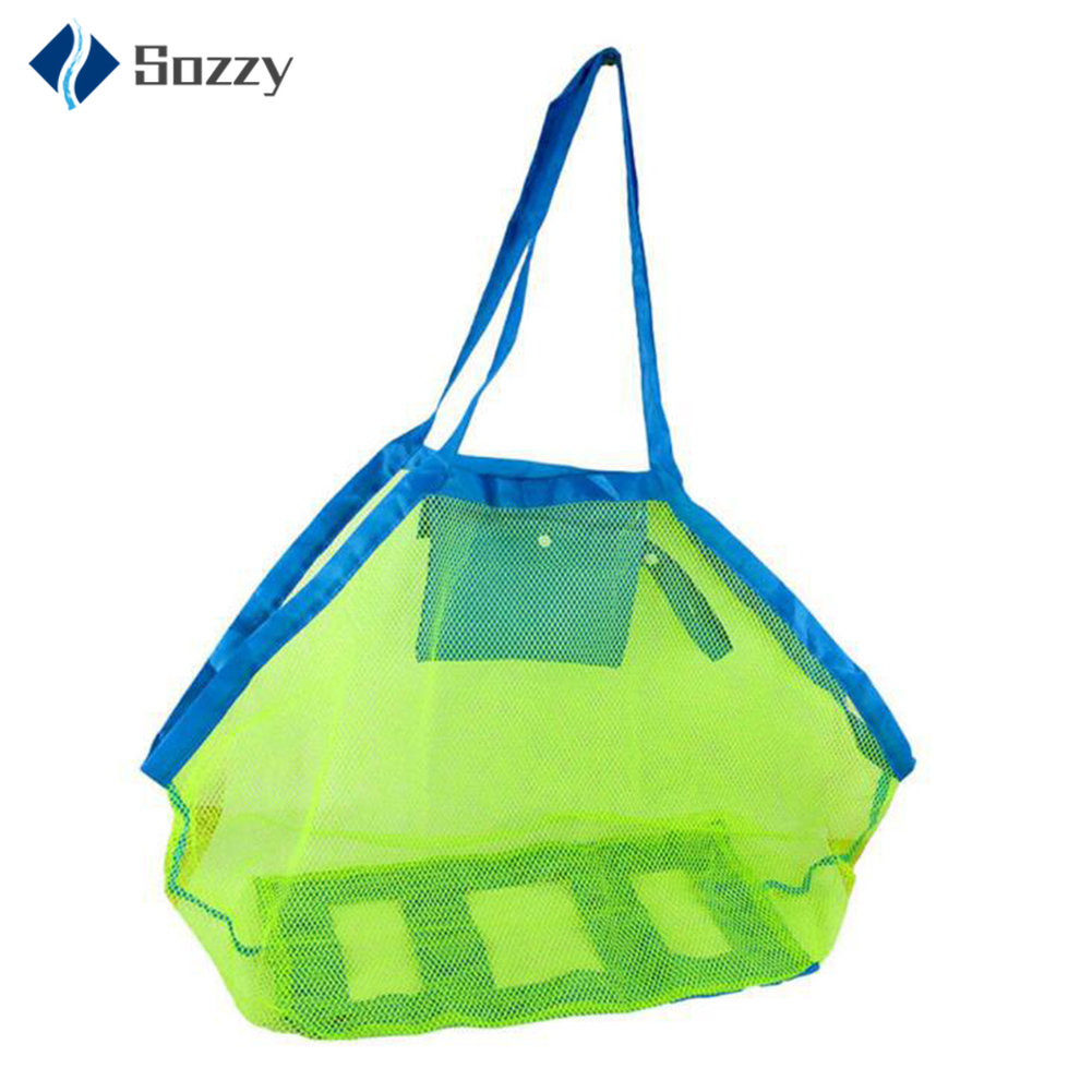 Mom Baby Beach Bags Women Kids Mesh Bag Big Size Folding Messerger Bag Toy Tool Storage Handbag Pouch Tote Children Shoulder Bag