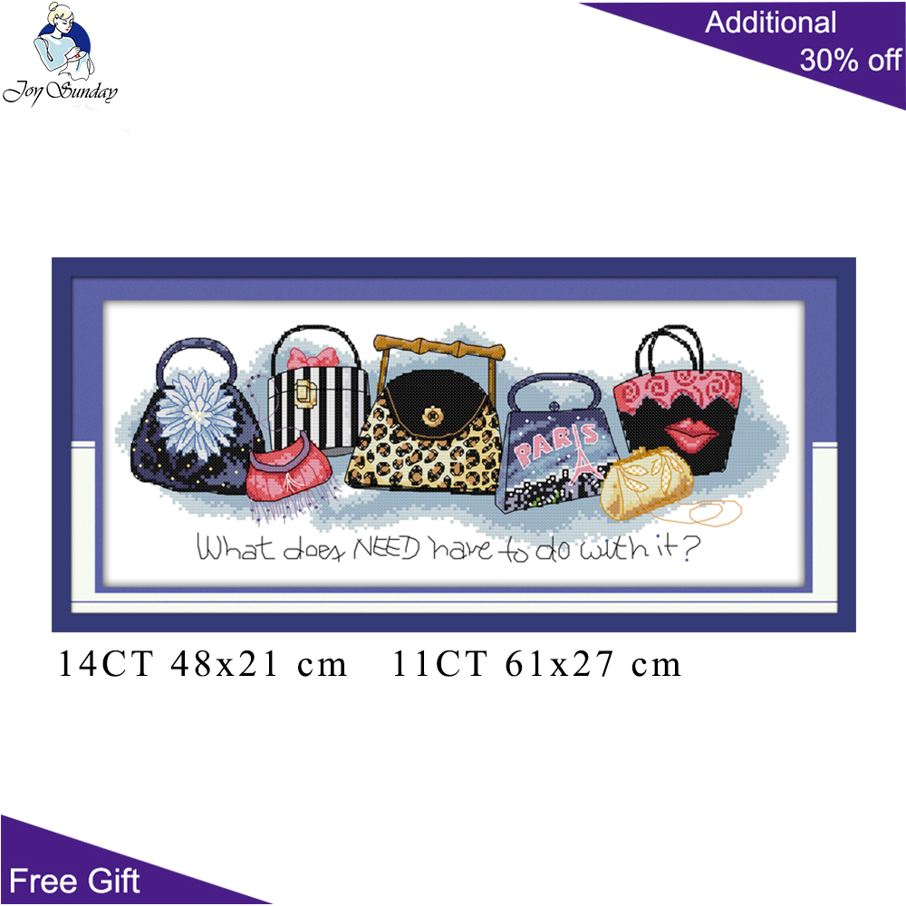 Joy Sunday Bag Cross Stitch K172 14CT 11CT Counted And Stamped Home Decor Always Be Short Of A Bag Needlepoint Cross Stitch Kits
