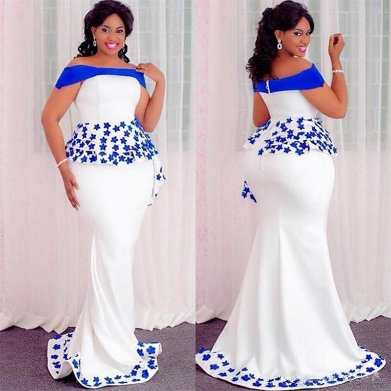Appliques robes de bal abiye sirène grande taille robes de soirée robe de soirée vestido longo sur mesure hors épaule robe de soirée