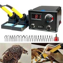 Queimador de madeira temperatura ajustável display digital pirografia caneta dupla queima máquina cabaça artesanato ferramenta kit ferro solda