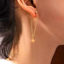 2021 mode Einfache Lange Quaste Sterne Tropfen Ohrringe für Frauen Gold Silber Farbe Kette Ungewöhnliche Ohrring Neue Trend Weibliche Schmuck