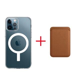 Image 1 - Funda de silicona líquida magnética 2 en 1 + cartera, tarjetero para IPhone 12 Pro Max, Mini imán seguro, tarjetero, accesorios
