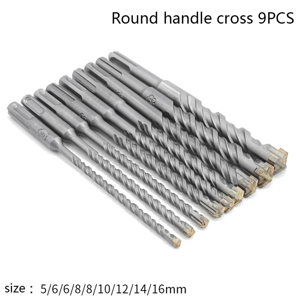 9pcs Electric Hammer SDS Plus Drill Bit Set 160mm For Concrete Wall Brick Block Masonry Hole Saw Drilling Bits 4 5 6 8 10 12mm