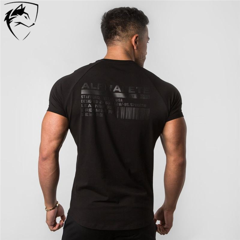 ALPHALETE Brand Summer New Men Gyms T shirt Fitness Bodybuilding Slim Shirts Fashion Leisure Short Sleeve Cotton Tee Tops