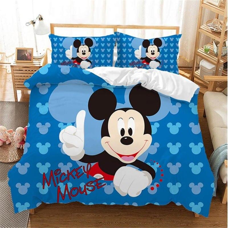 Disney Christmas Mickey Mouse Bedding Set Cartoon Cotton Bed Linen For Children Boys Girl Gift Adult Duvet Cover Flat Sheet