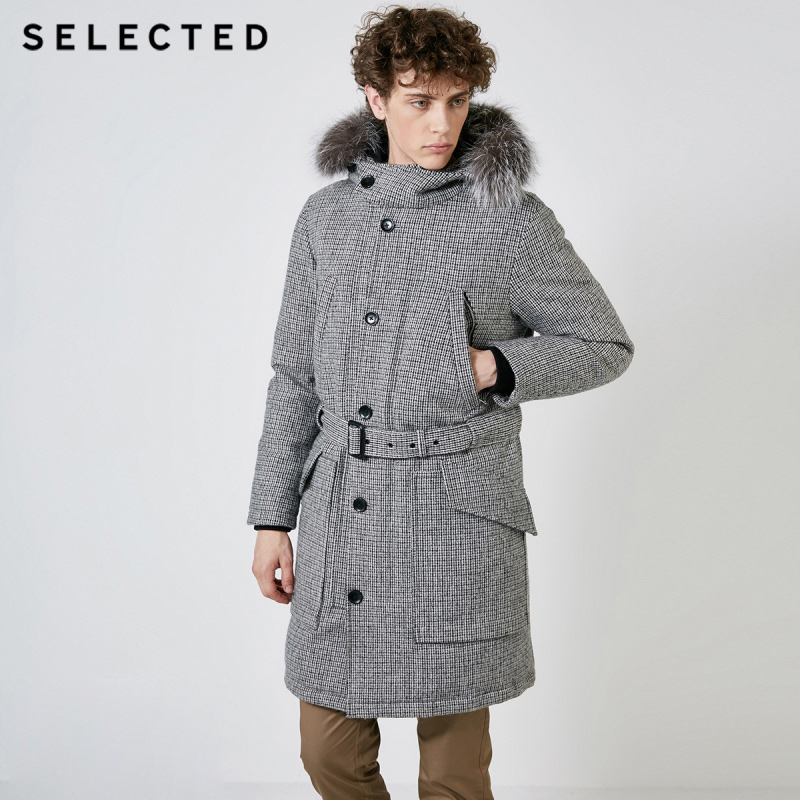 SELECTED Men's Winter Fox Chequered Waterproof Down Jacket Long Warm Coat Male Clothes S | 418412590