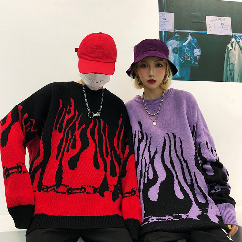 Oversize Knitted Batwing Sleeve Women's Sweater Winter Flame Print Sweaters Female Japanese Long Casual Loose Pullovers Women