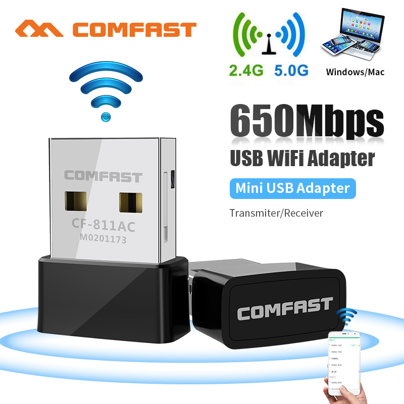 Comfast 811AC 650Mbps Wireless USB Wifi Adapter RTL8811 Receiver 2.4G&5G USB Wifi 802.11n/g/b/ac Network Card For PC Wifi Dongle(China)