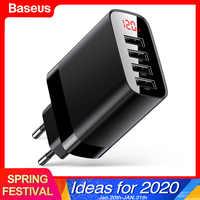 Baseus multi carregador usb para iphone 11 pro max 30 w carregador rápido para xiao mi samsung 4 portas múltipla parede moblie telefone carregador