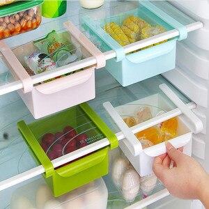 Slide Kitchen Fridge Freezer Space Saver Organizer Storage Rack Shelf Holder Home Storage Organization Storage Box Organizer(China)