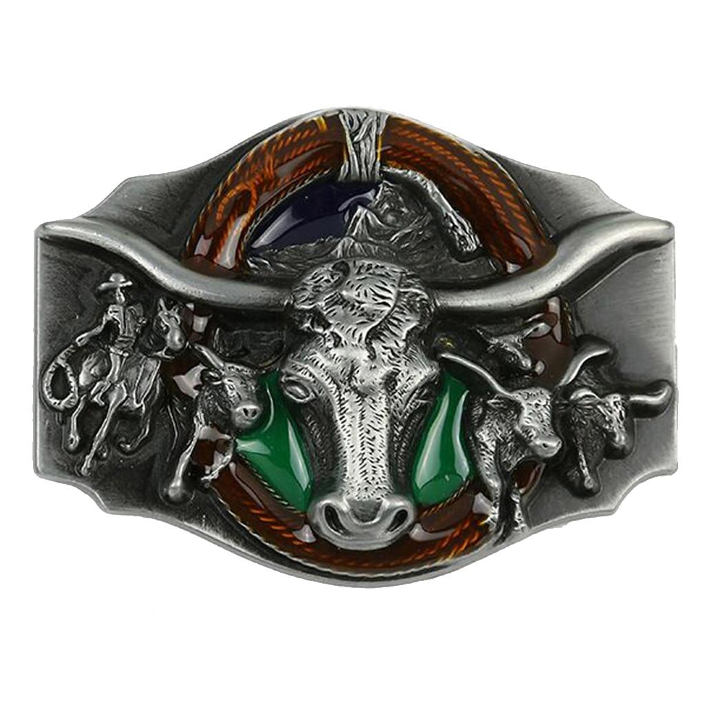 Antique Engraved Bull Head Pattern Cowboy Western Alloy Belt Buckle Men Gift