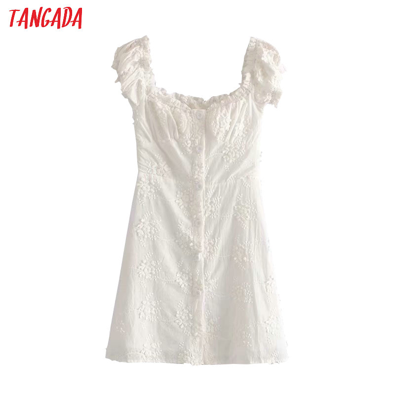 Tangada Fashion Women White Embroidery Cotton Dress French Style Short Sleeve Ladies Summer Beach Dress Vestidos 1T17