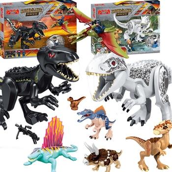 Jurassic Dinosaur Building Blocks Figures Bricks Tyrannosaurus Rex Indominus Model Toys jurassic dinosaur park indominus rex diy blocks dinosaurs tyrannosaurus rex tiny models building block kids toys creator animals