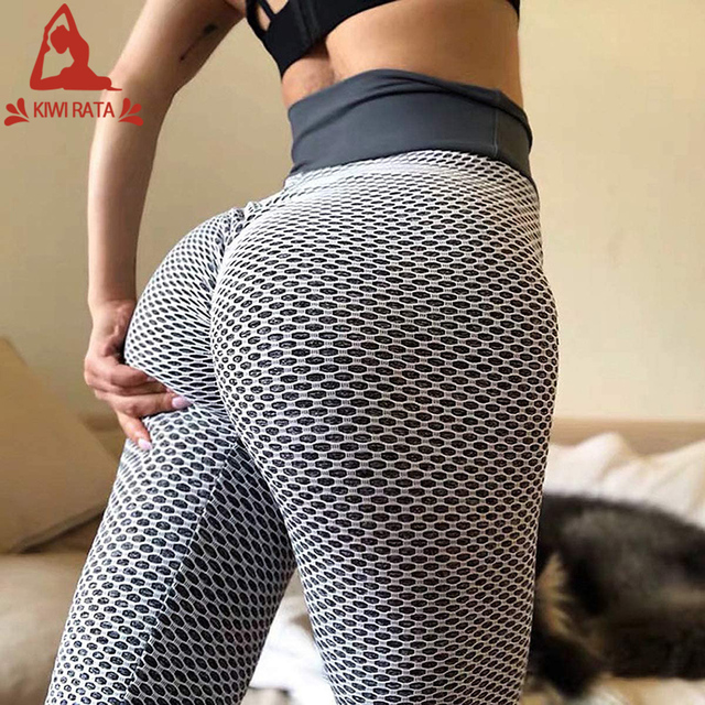 KIWI RATA Push Up Leggings Hohe Taille Booty Leggins Yogahose mit Gerafftem Design Butt Lifter Tights Shaping Yoga Pants Seamless Sportleggings Laufhose Fitnesshose f/ür Workout Jogging Streetwear