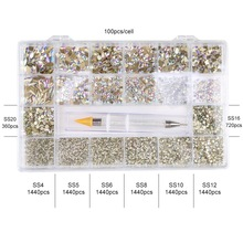 Swarovsky  Crystal AB Nail Art Rhinestones Flatback Strass Shiny Glass Nail Stones Gems For 3D Nails DIY Manicure Decorations