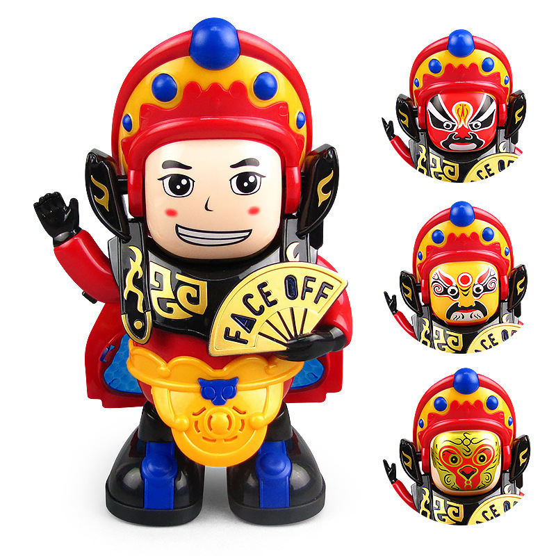 Electric Dancing Face Changing Robot Doll Automatically Changed Face Dance Lighting Music Plastic Doll