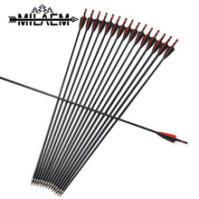 24 Pcs Archery Fiberglass Arrow 31.5 inch Arrows With 3 Rubber Feather And 100 Grain Arrowheads Shooting Accessories
