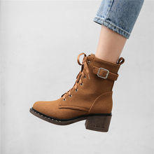 Brown Green Black Lace Up Block High Heel Ankle Boots Women Buckle Bootie Motorcycle Combat Boots Ladies Shoes Big Size(China)