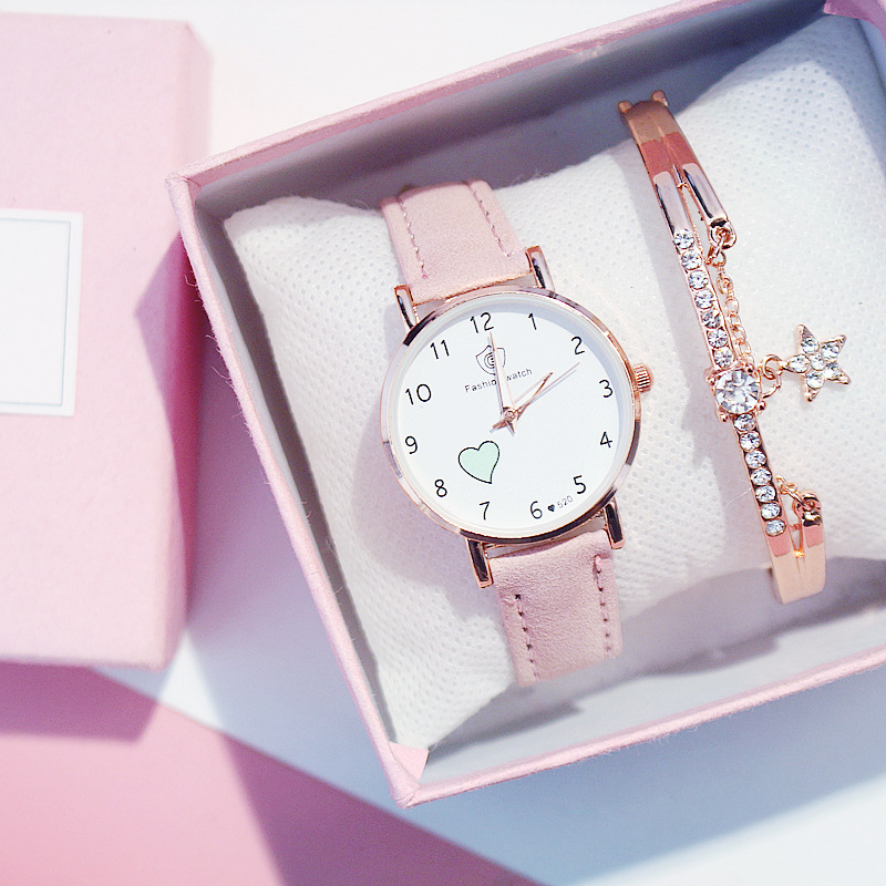 Fashion Luminous Heart Girls Women Watches Female Student Korean Ladies Wrist Watch Simple Small Fresh Lovely Ins Style Clock