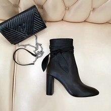 Модные женские нескользящие ботинки на квадратном каблуке с бантом однотонные короткие ботинки на молнии обувь на квадратном каблуке
