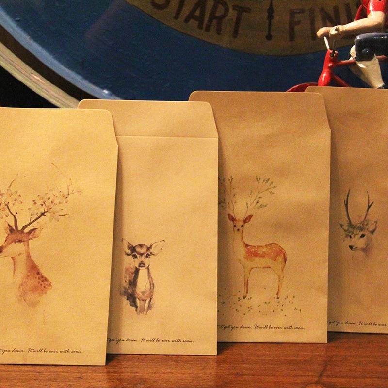 JIANWU 8pcs China Kazahana Invitation Envelopes Retro Deer Kraft Paper Small Fresh Hand-painted Sen Department Of Antiquity