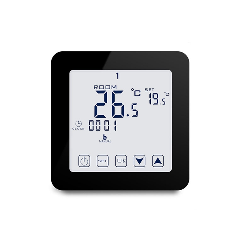 HY08BW Digital Electric Heating Press Screen Thermostat Programmable Thermoregulator Control Wall Mounted Black|Thermostats & Parts|   - AliExpress