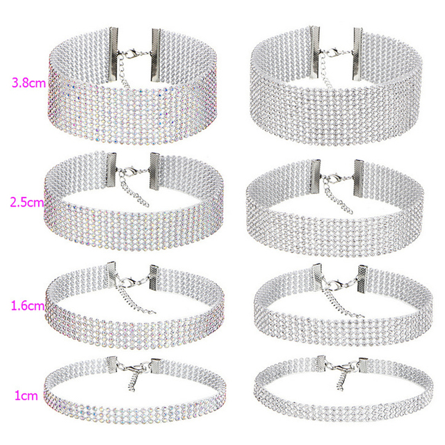 NEW Crystal Rhinestone Choker Necklace Women Wedding Accessories Silver Color Chain Punk Gothic Chokers Jewelry Collier Femme 5