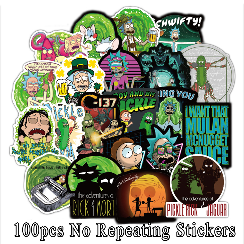 2019 100Pcs American Drama Rick And Morty Stickers Cartoon Decal For Snowboard Luggage Car Fridge Styling Laptop Stickers