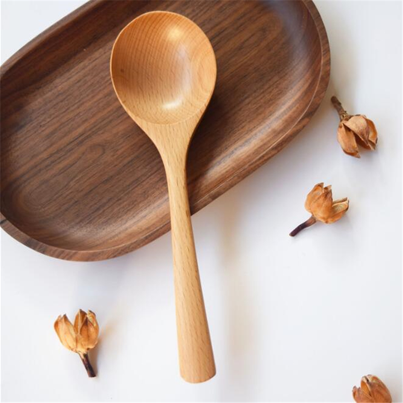 1pc Wooden Spoon Soup Spoon <font><b>Colher</b></font> Solid Wood Porridge Spoon Cuillere Cuchar Creative Japanese-Style Green Tableware image