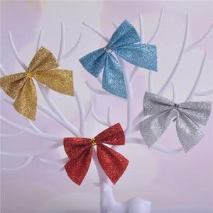 12PCS/lot Pretty Bow Xmas Ornament Christmas Tree Decoration for Festival Party Home Bowknots Baubles New Year Decor E