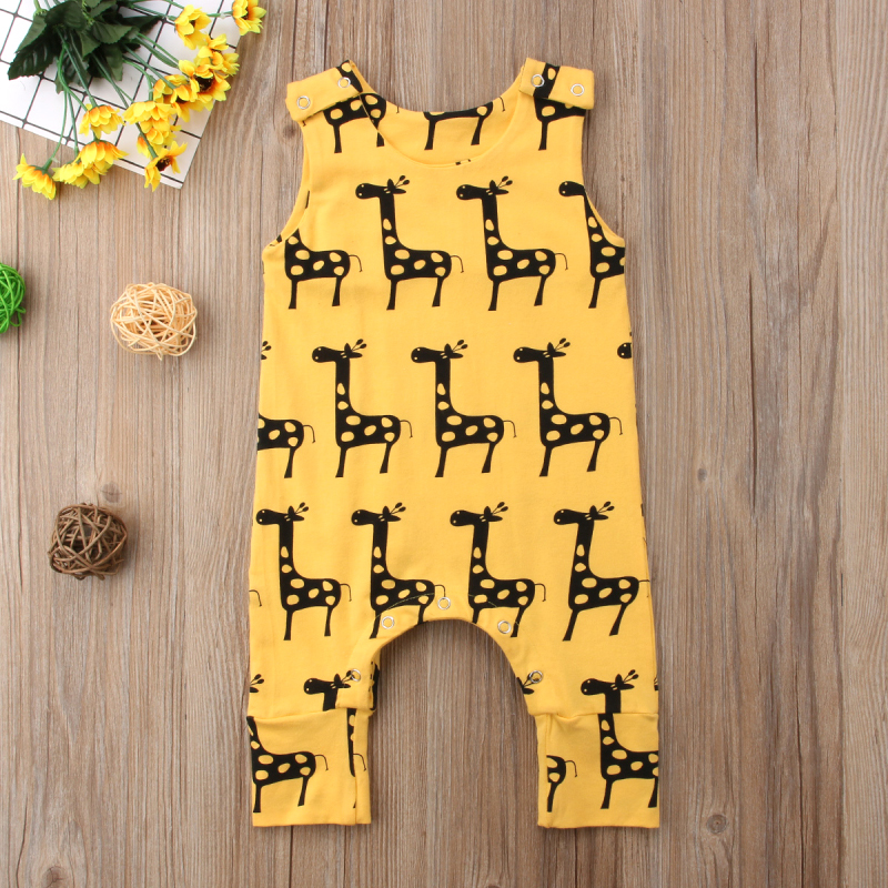 2019 New Cute Newborn Baby Boy Girl Sleeveless Cartoon Animal Cotton Romper Jumpsuit Outfits Summer Clothes 0-24M