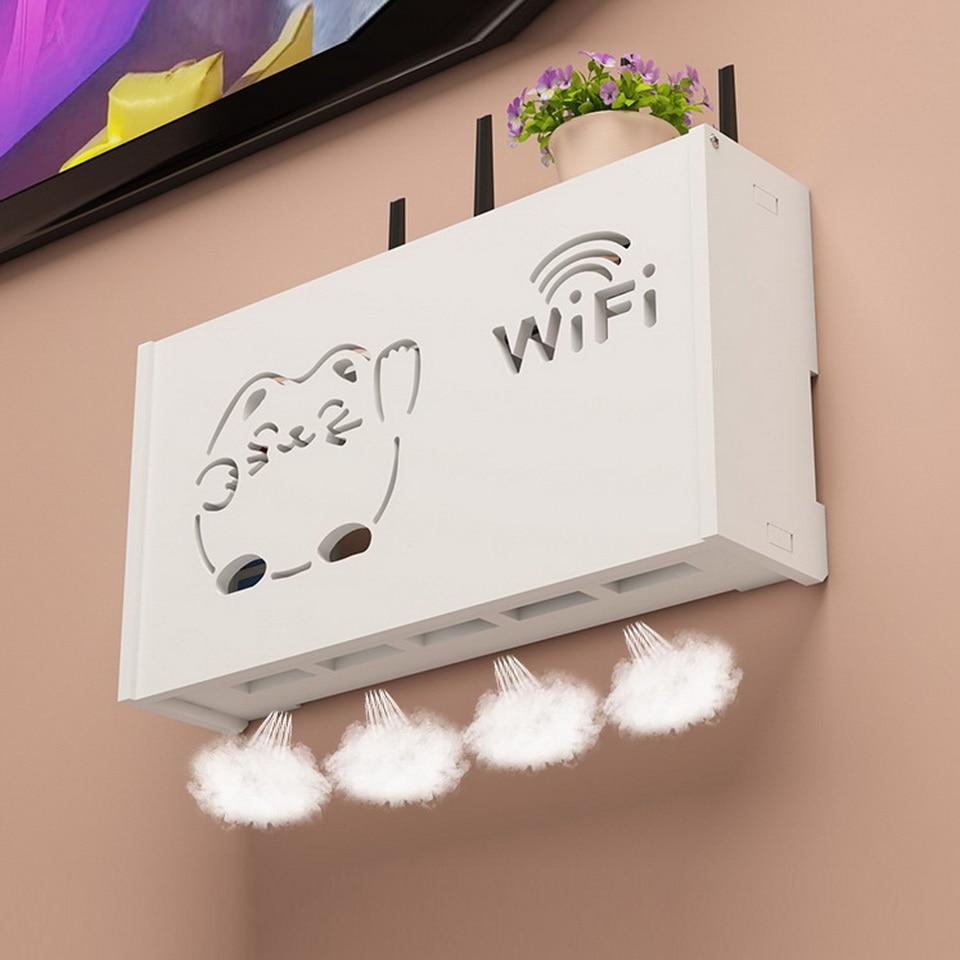 Wireless Wifi Router Storage box PVC panel Shelf Wall Hanging Plug  Bracket Cable Storage Organizer Home Decor fire retardant