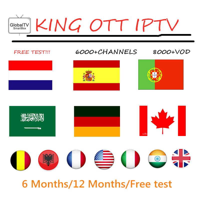 Europe Nordic KING OTT iptv Subscription for France Spain Portugal Support Adult M3u Enigma2 Smart X96MINI Android TV Box